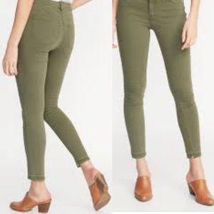 Rockstar Olive mid rise raw hem Old Navy jeans
